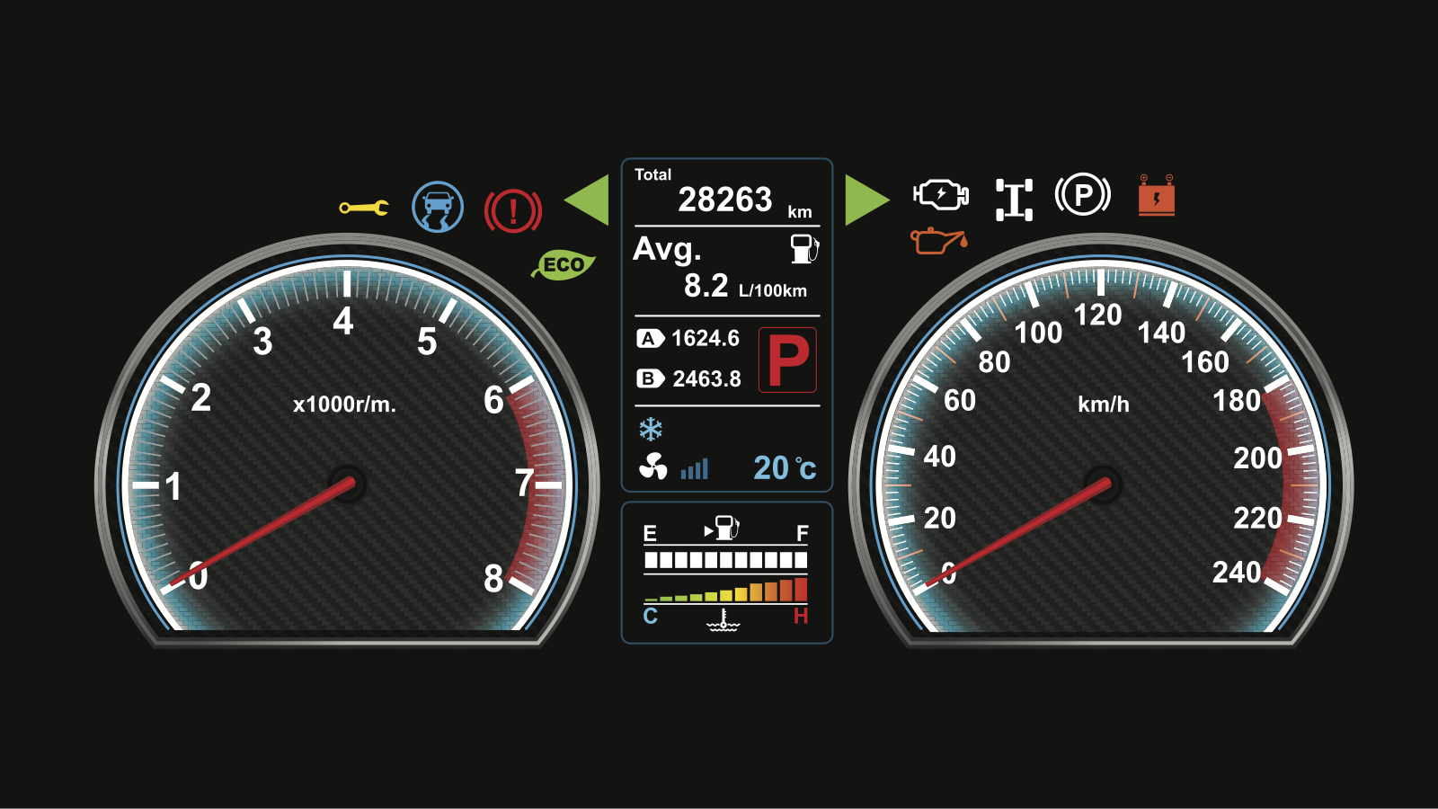 Depiction of a car dashboard with active warning lights