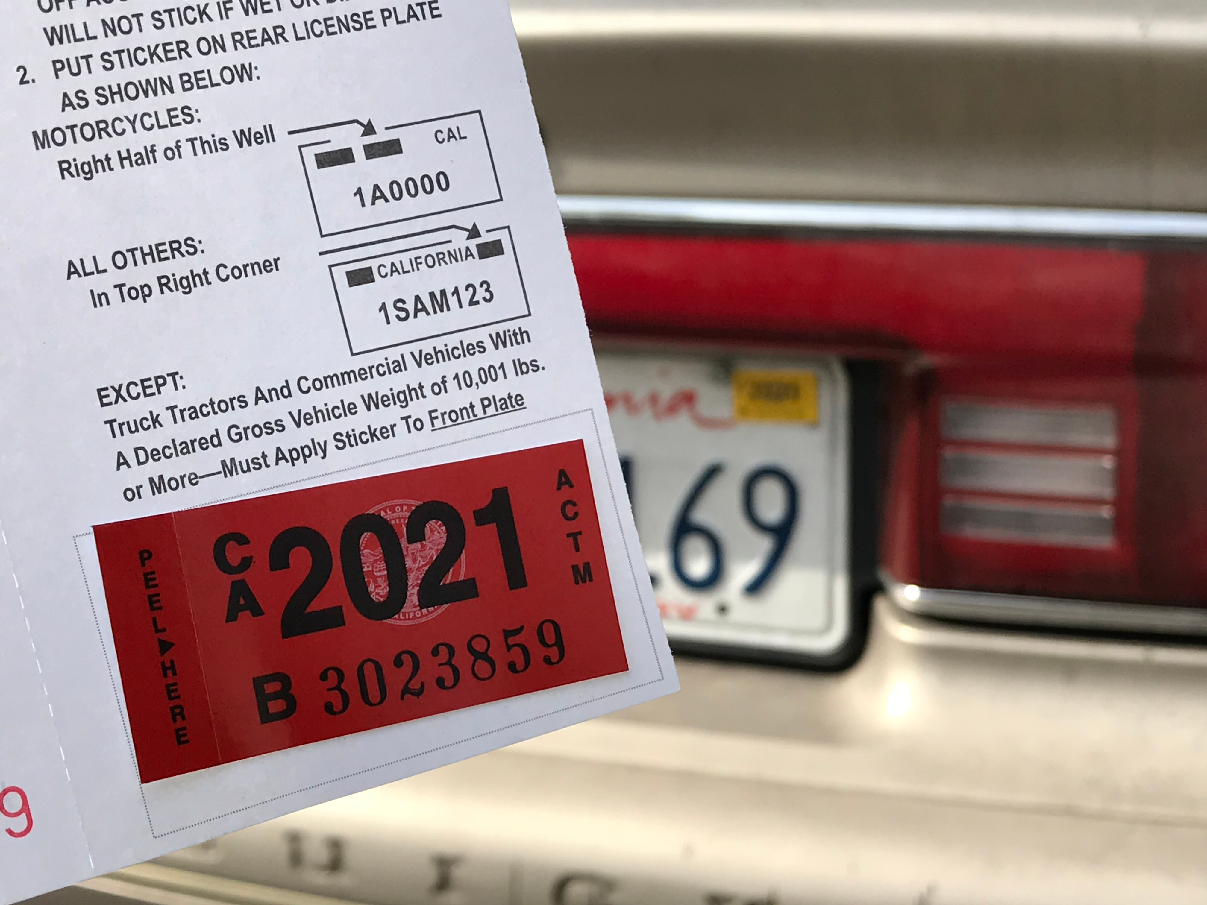 California car registration sticker